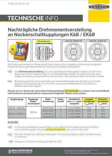 Nachträgliche Drehmomentverstellung (E)K68 Kupplungen